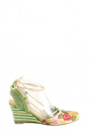 Pons Quintana Wedge Sandals flower pattern casual look