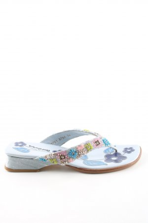 Pons Quintana High-Heeled Toe-Post Sandals blue flower pattern wet-look
