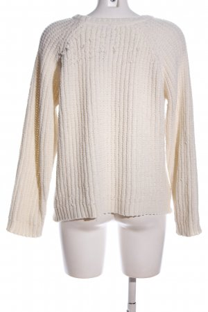 Poof Couture Strickpullover creme Zopfmuster Casual-Look