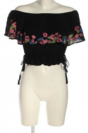 Poof! Cropped Top schwarz-pink Blumenmuster Casual-Look