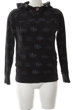 Poolgirl Maglione con cappuccio nero motivo grafico stile casual
