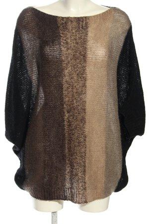 Poolgirl Poncho en tricot brun-blanc cassé motif rayé style décontracté