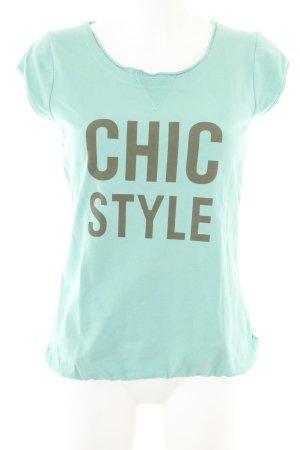Poolgirl T-Shirt türkis-braun Schriftzug gedruckt Casual-Look