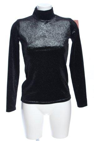 pop Copenhagen Langarm-Bluse schwarz-silberfarben meliert Casual-Look