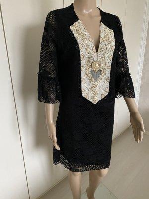 Midi-jurk zwart-licht beige