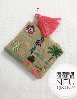Portemonnaie Beutel Geldbeutel Kosmetik Tasche Stickerei Sommer blogger vintage