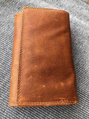 Portemonnaie Börse Leder 2. Wahl cognacfarben Vintage Look 15,6x10cm 12 Kartenfächer