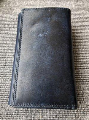 ohne Marke Portefeuille bleu-noir cuir