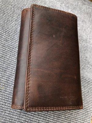 ohne Marke Portefeuille brun foncé cuir