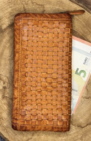 Portemonnaie Börse Leder soft Vintage Look cognacfarben hell 20x10 cm