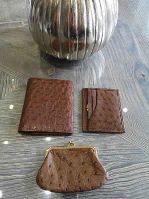 Portemonnaie Echt Straußen Leder Luxus Pur Geldbörse