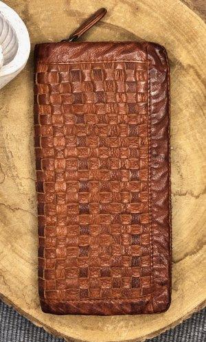 Portemonnaie Geldbörse Leder soft cognacfarben dunkel 20x10cm Vintage Look