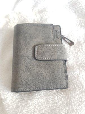 Portemonnaie, grau, PU Leder, viele Kartenfächer, neu