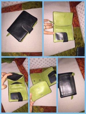 Portemonnaie schwarz grün Leder