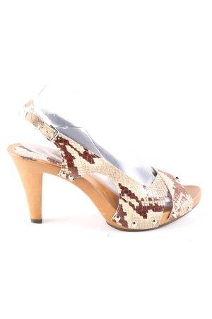 Portofino High Heel Sandaletten creme-braun Animalmuster Elegant
