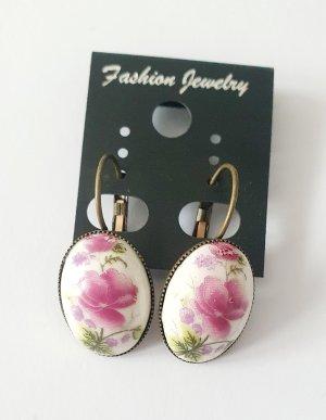 Porzellan Ohrringe mit Orchideen Blüten Motiv vintage Stil Boho Schmuck NEU