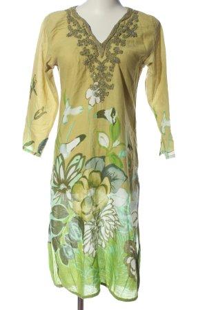 positano Sukienka tunika khaki-biały Wzór w kwiaty W stylu casual