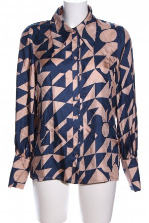 POSTYR Hemd-Bluse creme-blau grafisches Muster Business-Look