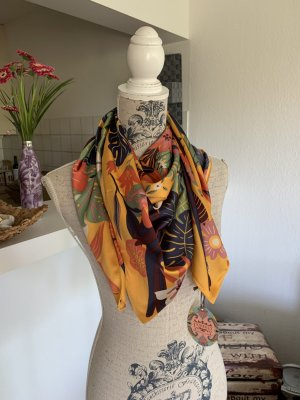 PoWdEr! Toucan Satin Neck Scarf/Halstuch - Square Mustard