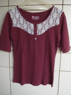 Bon Prix Prążkowana koszulka bordo-jasnobeżowy Bawełna