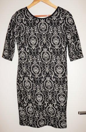 Ana Alcazar Robe fourreau blanc-noir laine