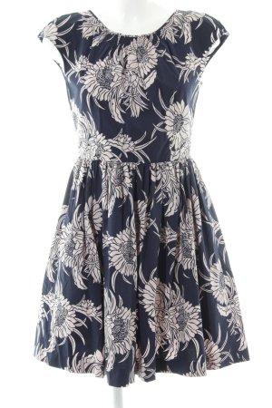 Prada A-Linien Kleid blau-wollweiß Blumenmuster Party-Look