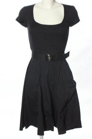 Prada Robe trapèze noir-bleu foncé