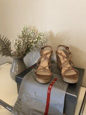 Prada Sandalo con plateau beige Pelle