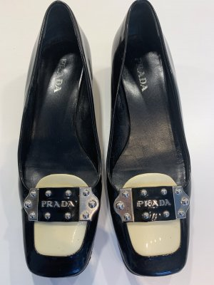 Prada Backless Pumps black-cream leather