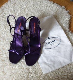 Prada Absatzsandalen riemchenpumps designer pumps high heels lila gr.40 mit schuhbeutel