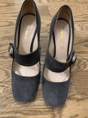 Prada Strapped pumps dark grey-grey leather