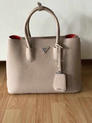 Handtas licht beige-stoffig roze