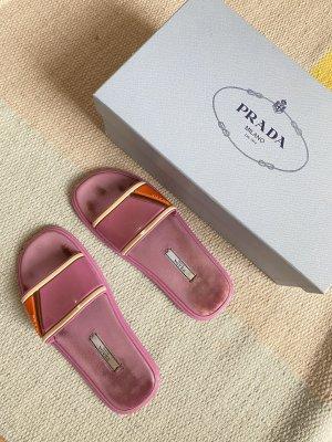 Prada Beach Sandals dark orange-pink