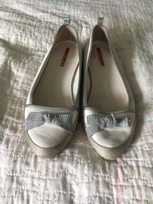 Prada Ballerina aperta sul tallone bianco-argento