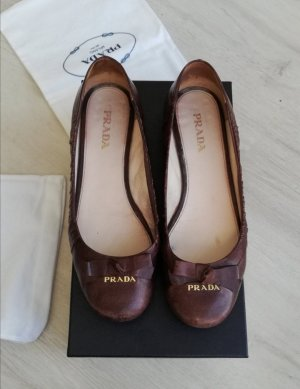 Prada Classic Ballet Flats brown-cognac-coloured leather