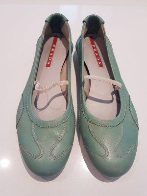 Prada Bailarinas con tacón Mary Jane verde claro-verde pálido Cuero