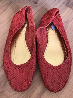Prada Ballerinas neu 40 1/2 geflochten rot Flats