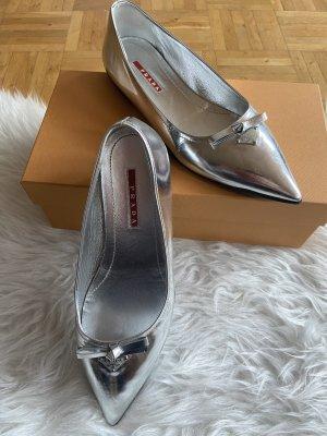 Prada Ballerina's met kant zilver
