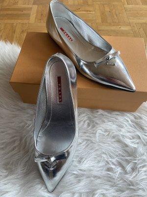 Prada Ballerinas with Toecap silver-colored