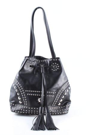 Prada Buideltas zwart-zilver casual uitstraling