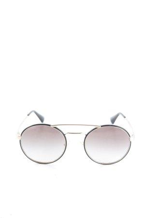 Prada Brille schwarz-goldfarben Schriftzug gedruckt Casual-Look