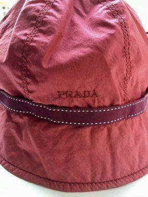 Prada bucket hat in red and bordeaux grosgrain ribbon.
