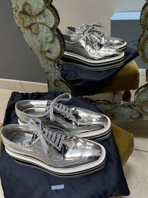 Prada Budapester Platteau Silber