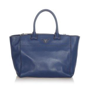 Prada Tote dark blue leather