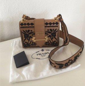 Prada Cahier Medium Tasche mit Stickerei braun / beige ORIGINAL
