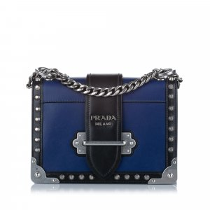 Prada Cahier Studded Leather Crossbody Bag