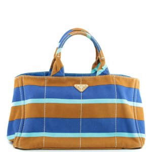 Prada Bolso de compra azul fibra textil