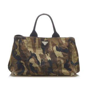 Prada Canapa Logo Camouflage Canvas Handbag