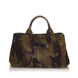 Prada Canapa Logo Camouflage Canvas Satchel