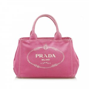 Prada Canapa Logo Canvas Satchel